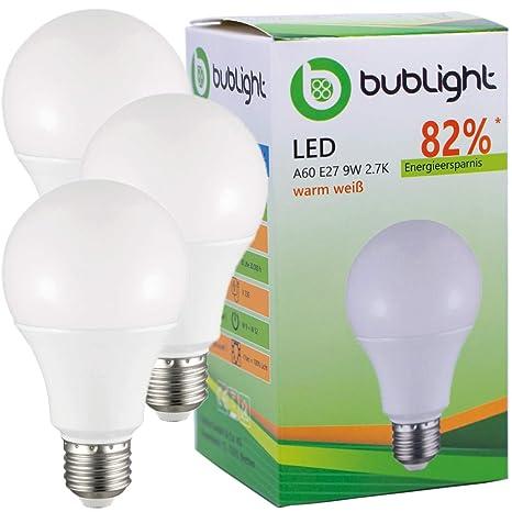 3 x bublight Bombilla LED E27 9 W, equivalente a bombilla de 50 W,