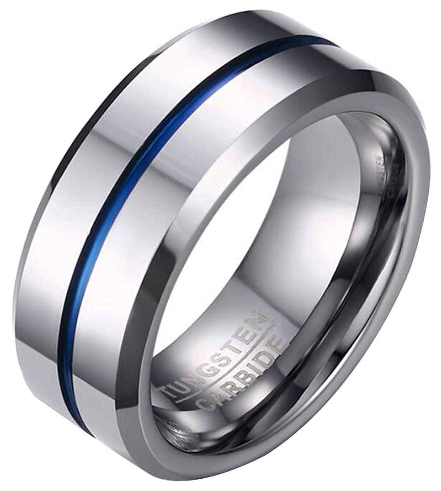 8MM AZYOUNG Center Blue Line Grooved Bevel Edge Flat Top High Polish Tungsten Carbide Ring
