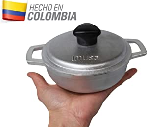 IMUSA USA GAU-80560 0.7Qt Traditional Colombian Mini Caldero (Dutch Oven) for Cooking and Serving, 0.7 Quart, Silver