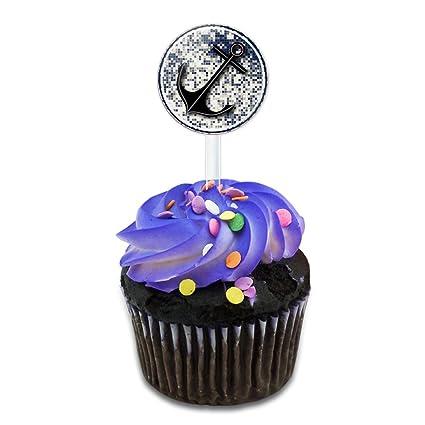 Amazon Com Anchor Nautical Theme Cake Cupcake Toppers Picks Set