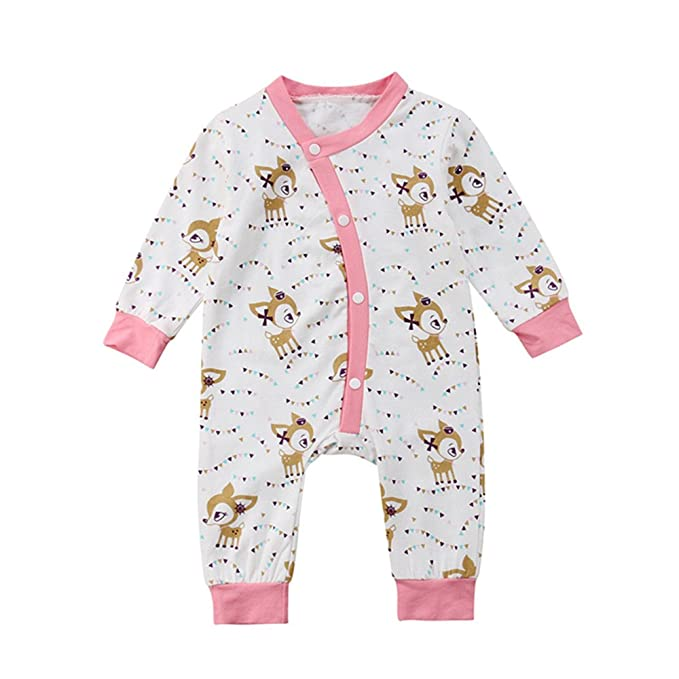 68137a5b1 Amazon.com  Winagainer Newborn Baby Girl Boy Clothes Deer Button Up ...