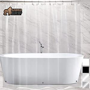Gorilla Grip Premium PEVA Shower Curtain, 72x72, Strongest, Mildew Resistant, BPA Free, Waterproof, Magnets in Curtains, Rust Resistant Grommets, Fits Standard Bath Tub and Showers, Single, Clear