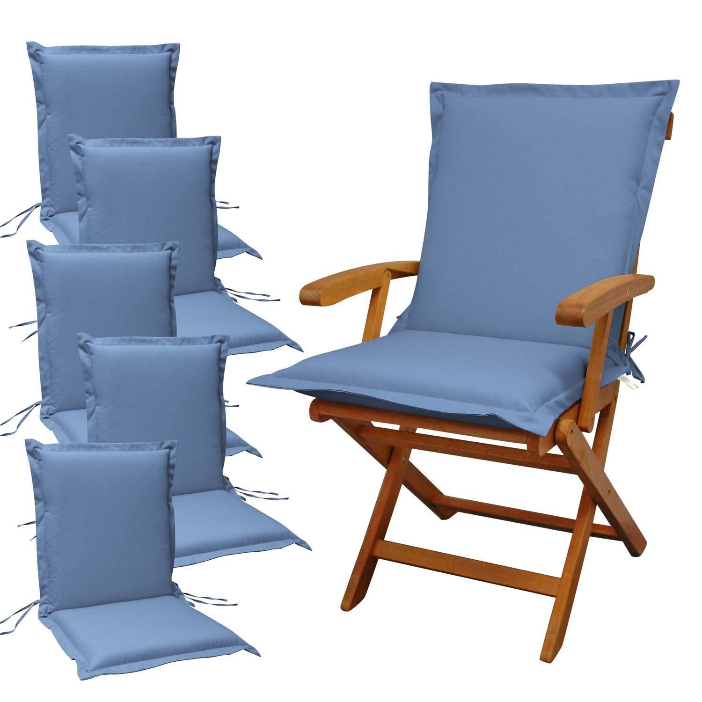 Indoba 6 x Sitzauflage Niederlehner Premium Polsterauflagen Blau