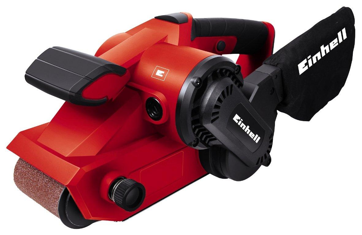 Einhell Ponceuse à bande TC-BS 8038 (800 W, Vitesse de la bande: 380 m/min,  Surface de ponçage : 76x142 mm, Dimensions de la bande : 76x533 mm,  Livré avec un sac à poussière et une bande abrasive) 4466260