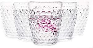 EVEREST GLOBAL Hobnail Highball Glasses 10.25 oz, set of 6, Premiun Old Fashioned Iced beverage Glass set for Juice, Beer, wine and soda for any occasion