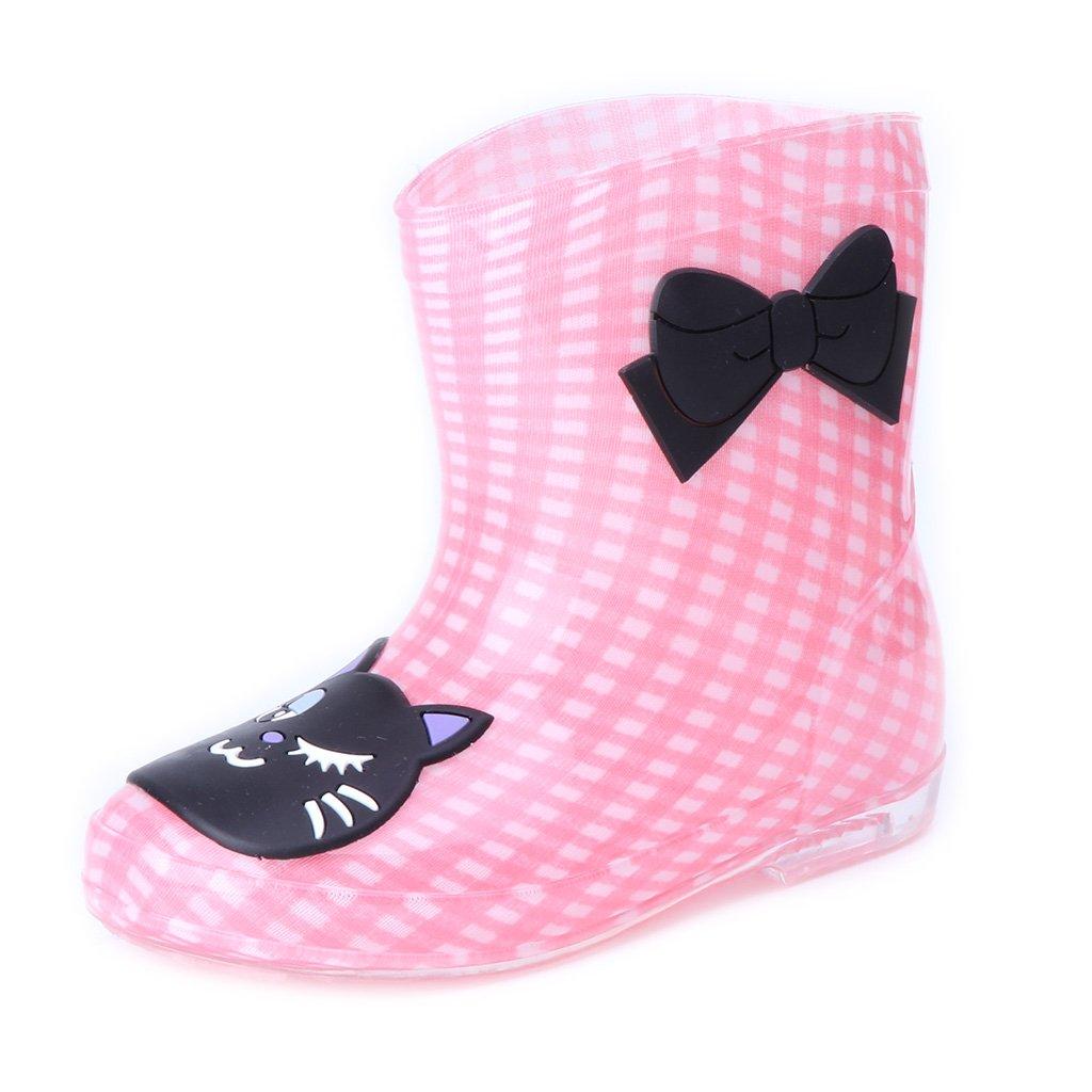 ヴァージニアウルフの家Kids Girl Boy Watertight通気性Cartoon Jelly Rainshoesノンスリップ雨ブート靴Mid Calfオーバーシューズ B074N47YPXピンク 9.5