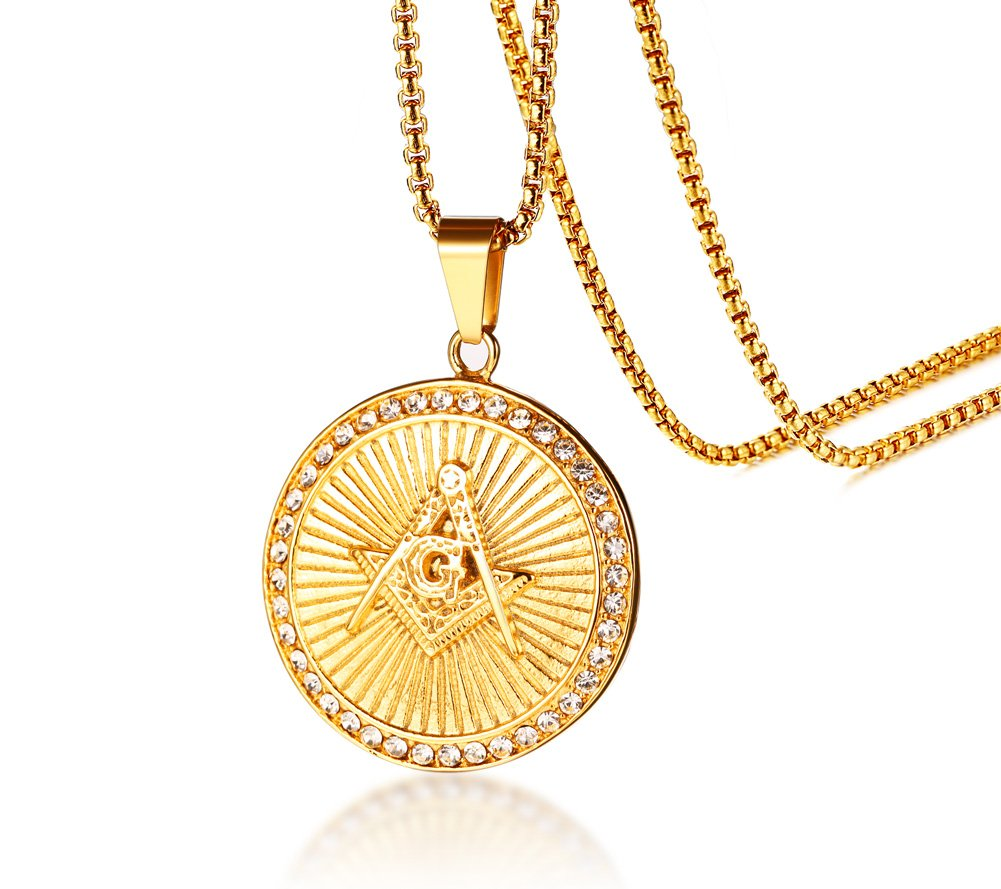 Mealguet Jewelry Gold Plated Stainless Steel Lodge Fob Masonic Symbol with Circle of Rhinestone Round Shaped Pendant Necklace for Freemason
