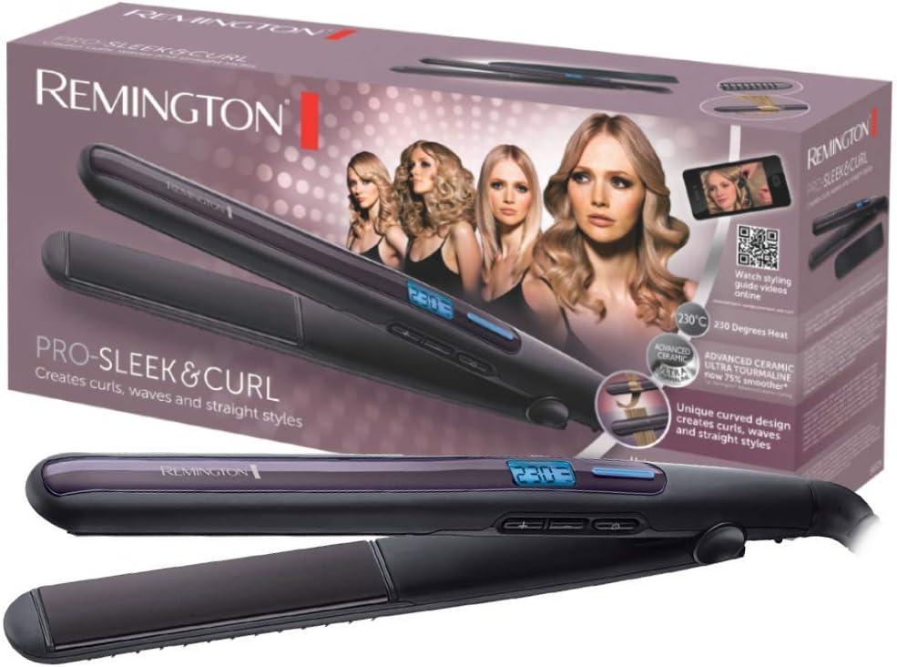 Remington S6505 Pro Sleek & Curl - Plancha de Pelo, Cerámica Avanzada, Digital, Rizador y Alisador, Negro y Morado