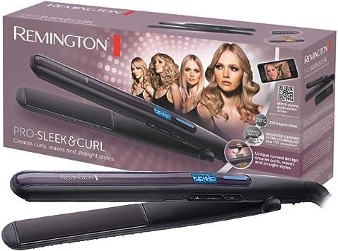 Oferta amazon: Remington S6505 Pro Sleek & Curl - Plancha de Pelo, Cerámica Avanzada, Digital, Rizador y Alisador, Negro y Morado