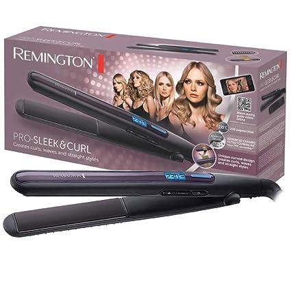 Remington Pro Sleek & Curl S6505 - Plancha de Pelo, Cerámica Avanzada, Digital, Rizador y Alisador, Negro y Morado