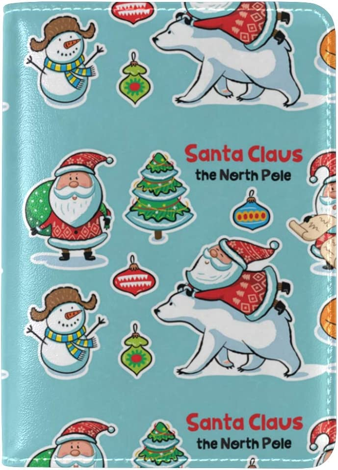 Childish Naughty Santa Claus Leather Passport Wallet for Passport Holder for Safe Trip durable Easy to Carry