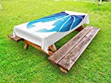 Ambesonne Zodiac Gemini Outdoor Tablecloth, Astrological Twins Art in Blue Shades Looking at Each Other, Decorative Washable Picnic Table Cloth, 58 X 84 inches, Blue Pale Blue and White