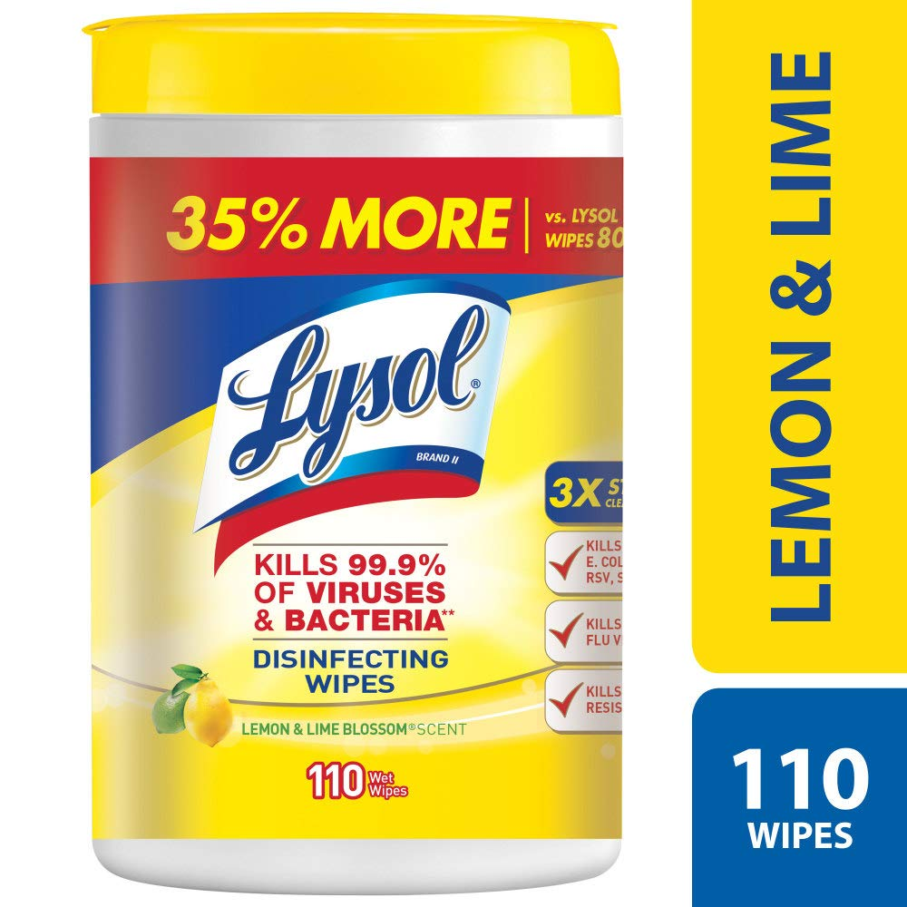 Lysol Disinfecting Wipes, Lemon & Lime Blossom, 110ct by Lysol (Image #1)