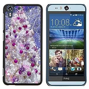 - WHITE SNOW CHRISTMAS PURPLE DECORATIONS TREE - Caja del tel¨¦fono delgado Guardia Armor- For HTC Desire EYE M910x Devil Case
