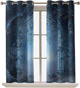 ScottDecor Fantasy Window Drapes Passage Doorway Through Enchanted Foggy Magical Palace Garden at Night View 42x95 Inch Room Darkening Window Treatment Set