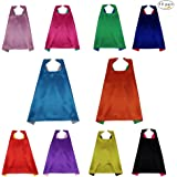 10 Superhero Party Double Sides Capes Reversible Dual Color for Kids Dress-Up Gift