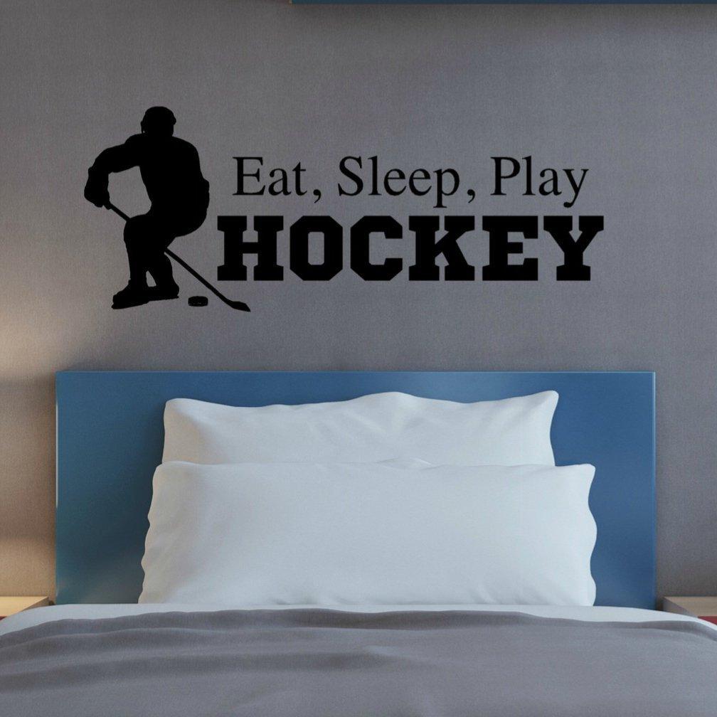 Eat Sleep Play Hockey Wall Decal, Hockey Quote Wall Decor, 36'' W x 14'' H Black, Hockey Wall Sticker
