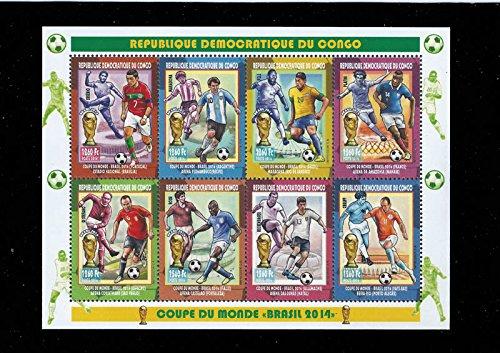 Congo- 2014 World Cup Soccer Matchups 8 Stamp Sheet 3A-421