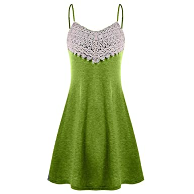 1e8d90d28d6 Women s Sleeveless Adjustable Strappy Beach Swing Crochet Lace Dress for  Summer (Army Green