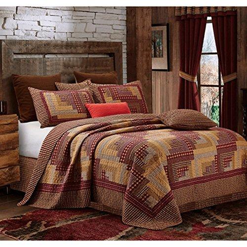 Montana Cabin Red/Tan Quilt Set Queen (Brown Patchwork Quilt)