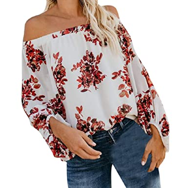 4e2c769f00b20 GONKOMA Clearance Fashion Womens Floral Off Shoulder Tops Long Sleeves  Slash Neck Strapless T-Shirt Top Blouse Shirts at Amazon Women s Clothing  store