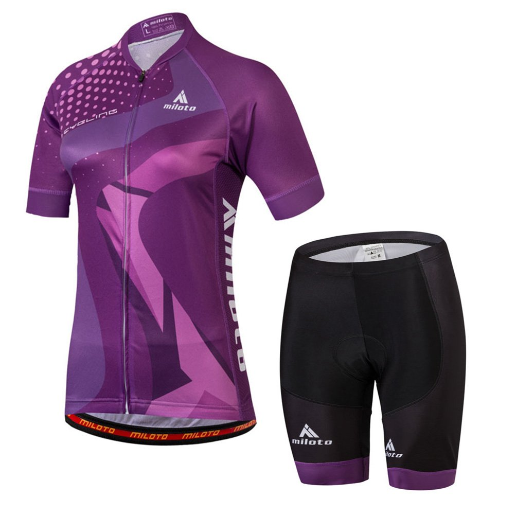 Purple Chest 36.2''=Tag M Uriah Women's Cycling Jersey Shorts Sets Short Sleeve Reflective