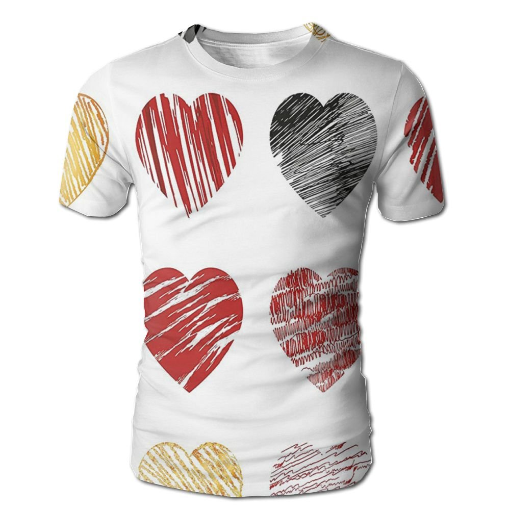 Edgar John Hand Drawn of Heart Figures Icons Love Valentines Wedding Theme Men's Short Sleeve Tshirt M