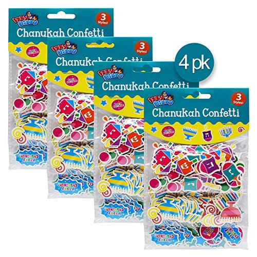 Hanukkah Confetti - 4 Pack - 3 Styles Each: Menorahs, Dreidels and Happy Chanuka - Hanukkah Party Decorations and Supplies by Izzy 'n' -