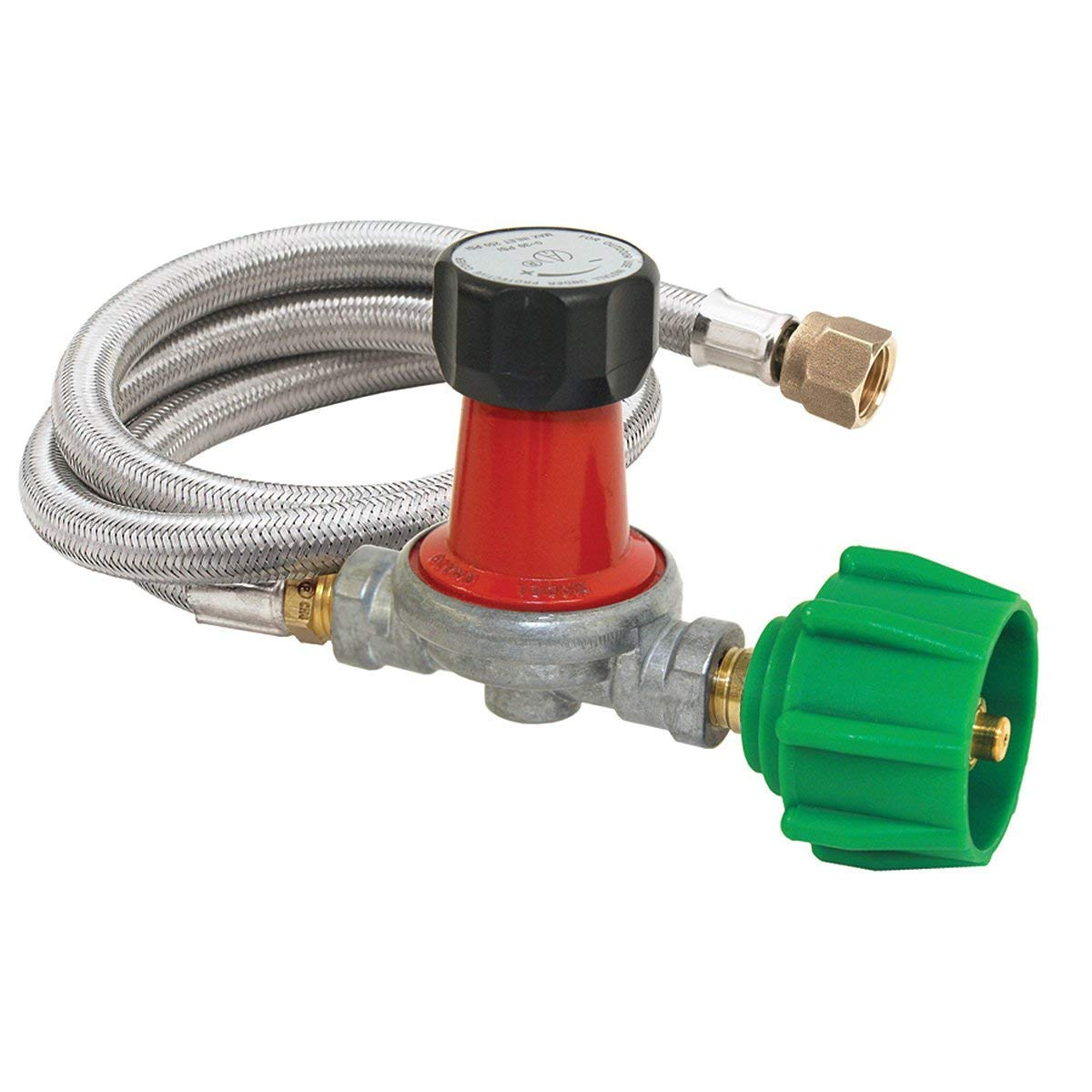 Amazon.com : Bayou Classic M5HPR-30, 0-30 PSI Adjustable Regulator with  Stainless Braided Hose : Grill Parts : Garden & Outdoor