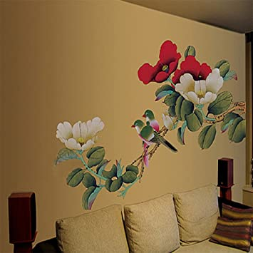 Large Peony Flowers Wall Stickers Home Decor Adhesive Decorative Art Decal  Wall Stickers Part 81