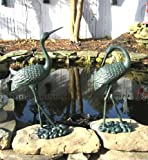 Pair of Large Iron Egrets ~ Egret Garden Statue ~ Green
