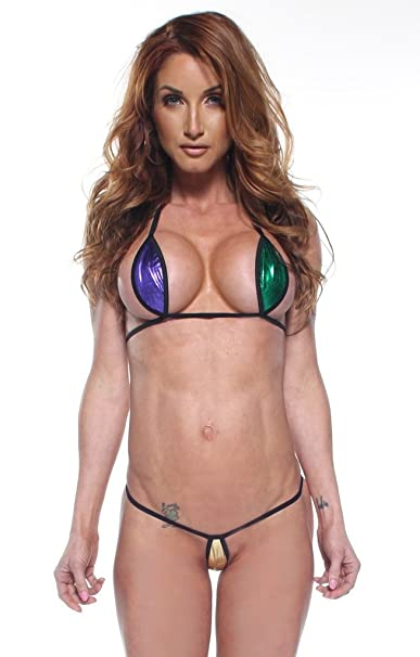 ecb3d84f306a2 Amazon.com  Mardi Gras Foil Sexy Mini Teardrop Bikini 2pc Top Micro G-String  w Black String  Clothing