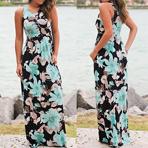 605b425b642 chengzhijianzhu Women s Summer Long Skirt Beach Sleeveless Vest Gradient  Dress Maxi Sundress Blue