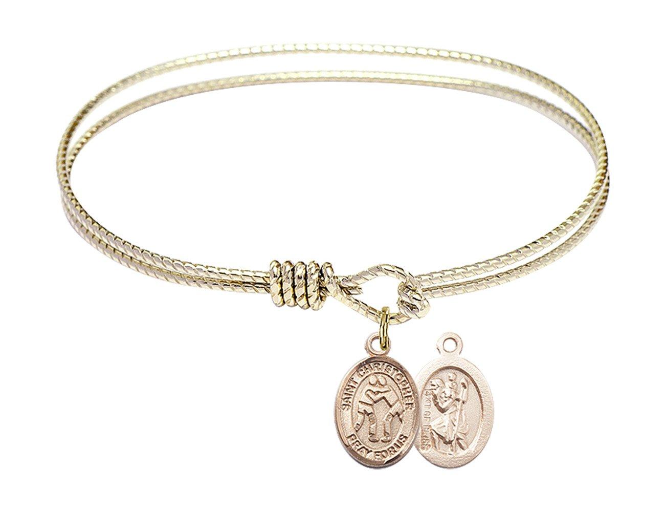 6 1/4 inch Oval Eye Hook Bangle Bracelet with a St. Christopher/Wrestling charm.