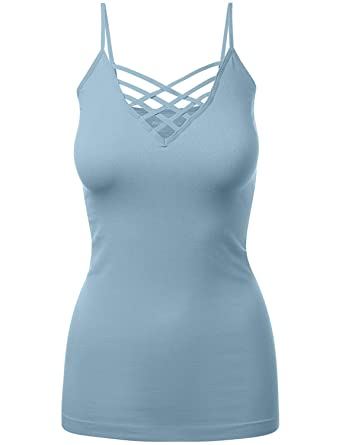 974f0810372db Caged Criss Cross Low-Cut Cami Tank Top Shirt Plus Sizes at Amazon ...