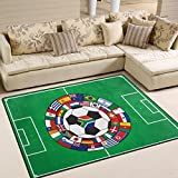 Naanle Sport Area Rug 5'x7', Soccer Field with The Ball and Flags Polyester Area Rug Mat for Living Dining Dorm Room Bedroom Home Decorative