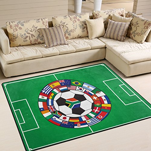 Naanle Sport Area Rug 5'x7', Soccer Field with the Ball and Flags Polyester Area Rug Mat for Living Dining Dorm Room Bedroom Home Decorative (Field Soccer Rug)