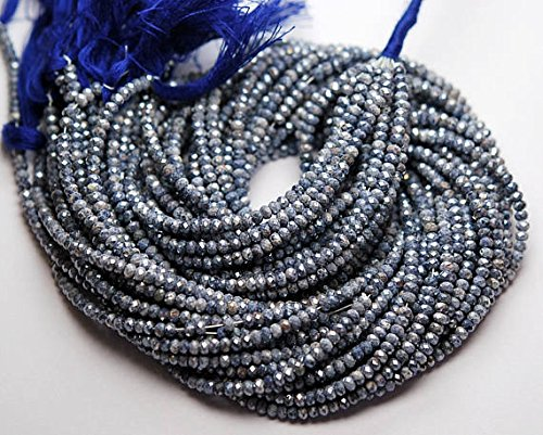 13 Inch Strand,Mystic NATURAL Madagascar Blue Sapphire Micro Faceted Rondelles Beads 3mm ()