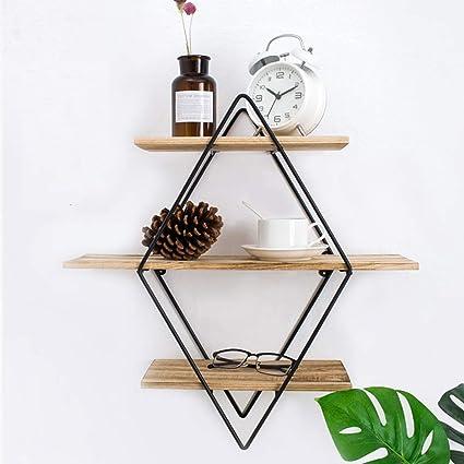 Estantería de pared de madera y metal, práctica estantería flotante decorativa estantería colgante estantería CD estantería cocina estilo natural ...