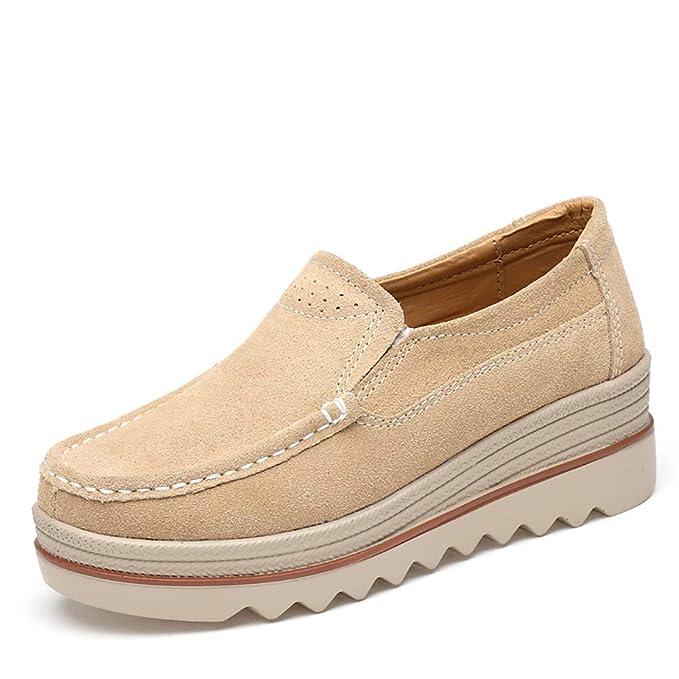 Mocasines De Plataforma Para Mujer Confort Damas Mocasines Cuñas Resbalón En Ante Zapatos De Trabajo Anchos Moda Casual Actualización De Zapatos De Mujer: ...