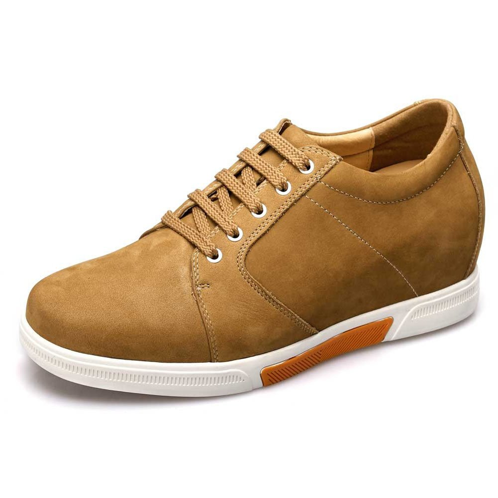 Chamaripa Height Increasing Shoes 2.95 Inch Taller Brown Suede Leather Casual Sneaker Elevator Shoes K70M83 US 10