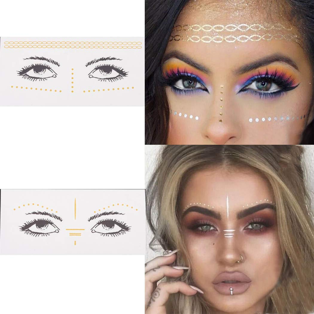 Aularso Face Tattoos Face Tattoo Stickers Freckle Sticker Face Metallic Temporary Tattoos Face Sticker Face Water Transfer Tattoo for Professional Make Up Dancer Costume Parties(2pcs)