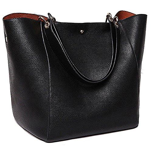 Women Tote Bag PU Leather Handbag Waterproof Satchel with Deachable Strap Shoulder Bag Travel Bag Big Capacity (Square Handbag Hobo)