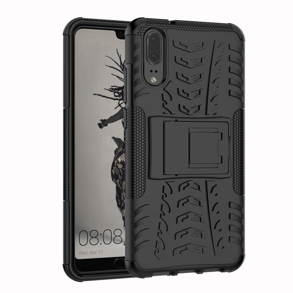 Huawei P20 case, MYLB [Shockproof] Heavy Duty Combo Hybrid Rugged Dual Layer Armor Grip Cover with stand for Huawei P20 smartphone (Black) OEM XW-Huawei P20
