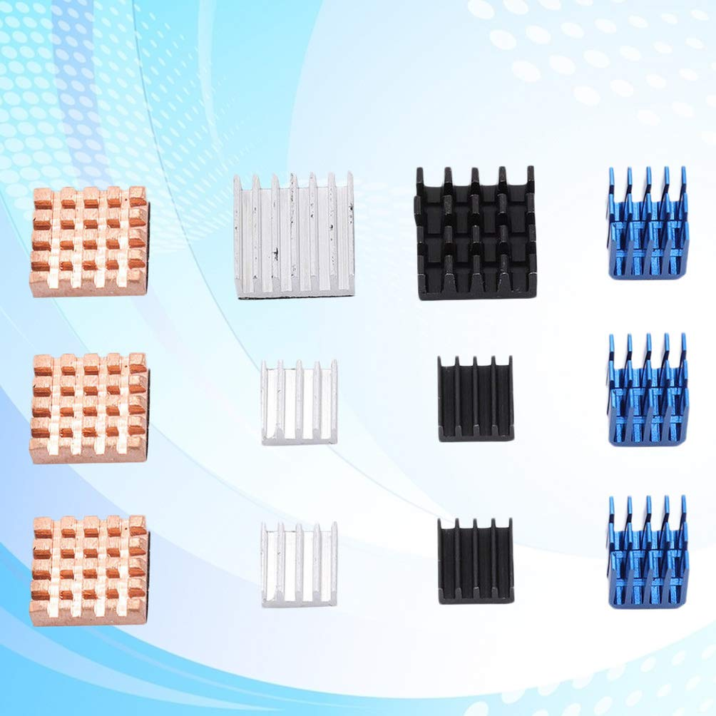 DOITOOL 12PCS Heatsink Cooler Passive Heat Sink Cooler Copper Heatsink with Thermal Compound Thermal Conductive Heat Conduction Cooling Kit for Raspberry Pi 3B
