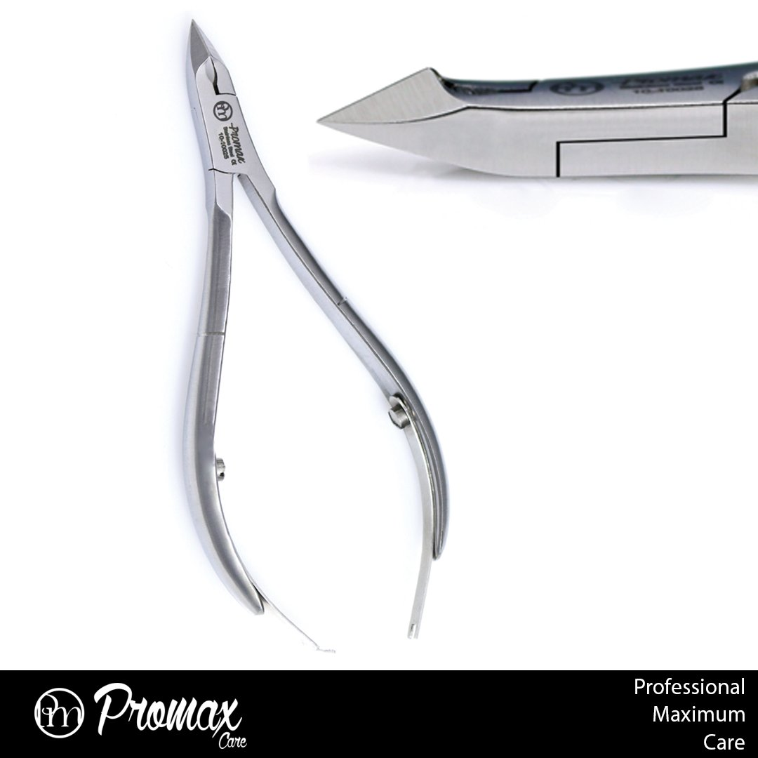 ProMax Professional Grade Cuticle Nipper / Cuticle Cutter / Cuticle Clipper Made of High Grade Stainless Steel Brush Finish-Round Flat Pattern, With Double Spring , For Nail Art Tool and Manicure/Pedicure (Full Jaw Brush Finish)10-10027 ProMax Care Product