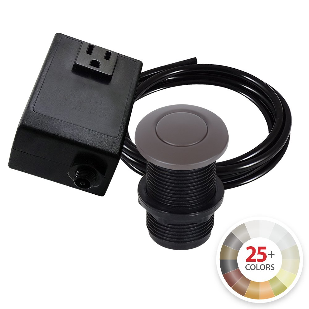 Single Outlet Garbage Disposal Turn On/Off Sink Top Air Switch Kit in Oil-Rubbed Bronze. Compatible with any Garbage Disposal Unit and Available in 25+ Finishes by NORTHSTAR DÉCOR. Model # AS010-ORB by NORTHSTAR DECOR