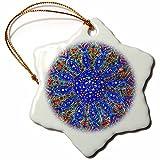 3dRose Danita Delimont - Patterns - Islamic Designs on Blue Pottery, Madaba, Jordan - 3 inch Snowflake Porcelain Ornament (orn_276903_1)