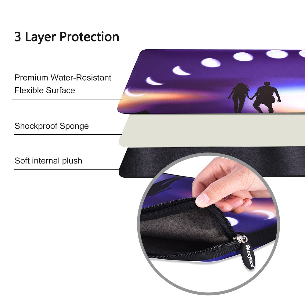 Sancyacc Laptop Sleeve, Water-Resistant Sleeve Bag Cover 15-15.6 Inch, Neoprene Laptop Bag Case, Full Protective Carrying Notebook Pocket for MacBook Air/Pro (Lunar)