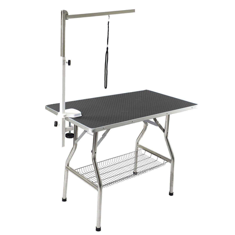 Black Flying Pig Grooming Medium Stainless Steel Frame Foldable Dog Pet Table, 38  by 22 , Black